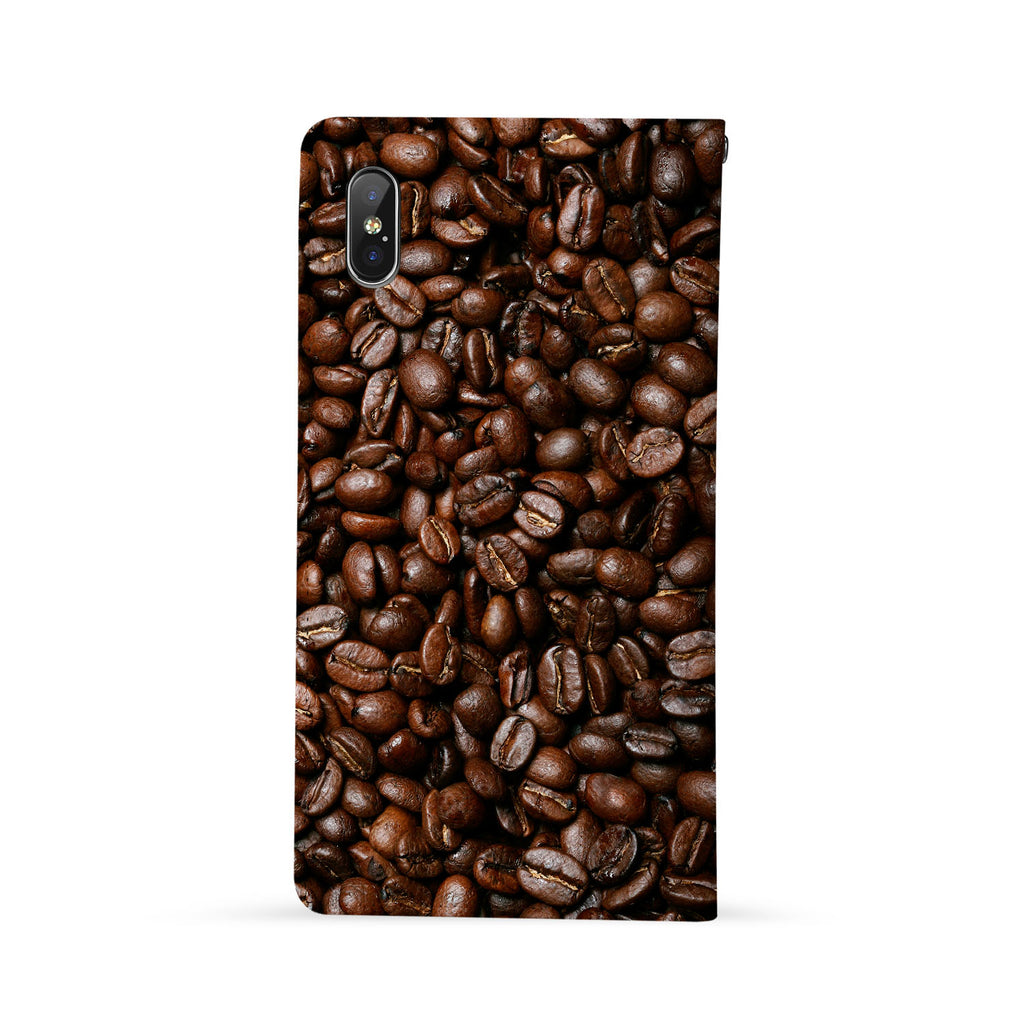 Back Side of Personalized iPhone Wallet Case with Coffee design - swap