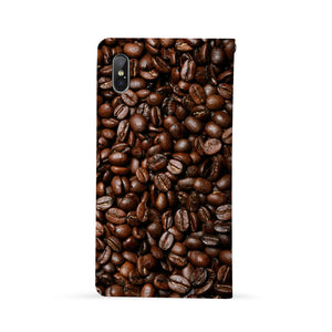 Back Side of Personalized Huawei Wallet Case with Coffee design - swap