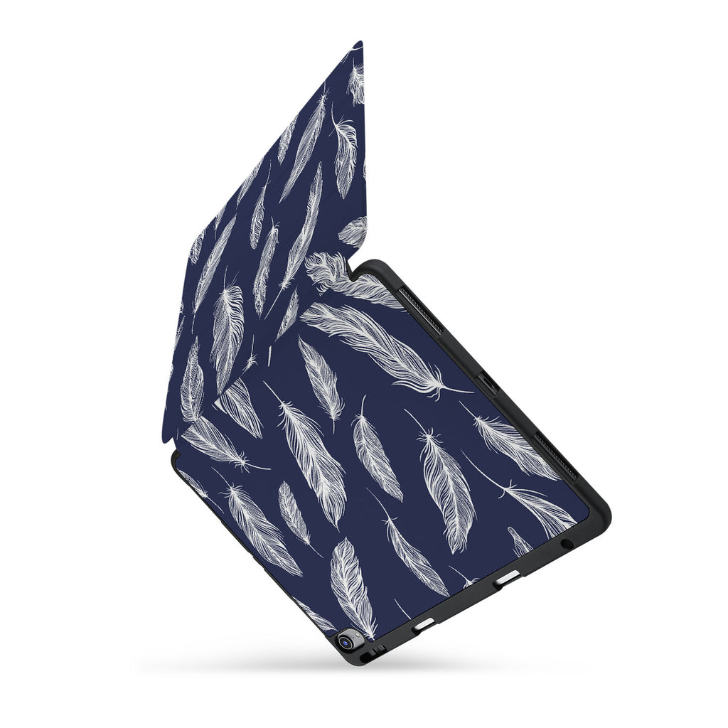 personalized iPad case with pencil holder and Feather design