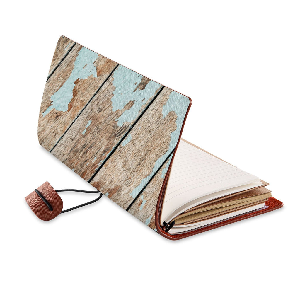 opened view of midori style traveler's notebook with Wood design