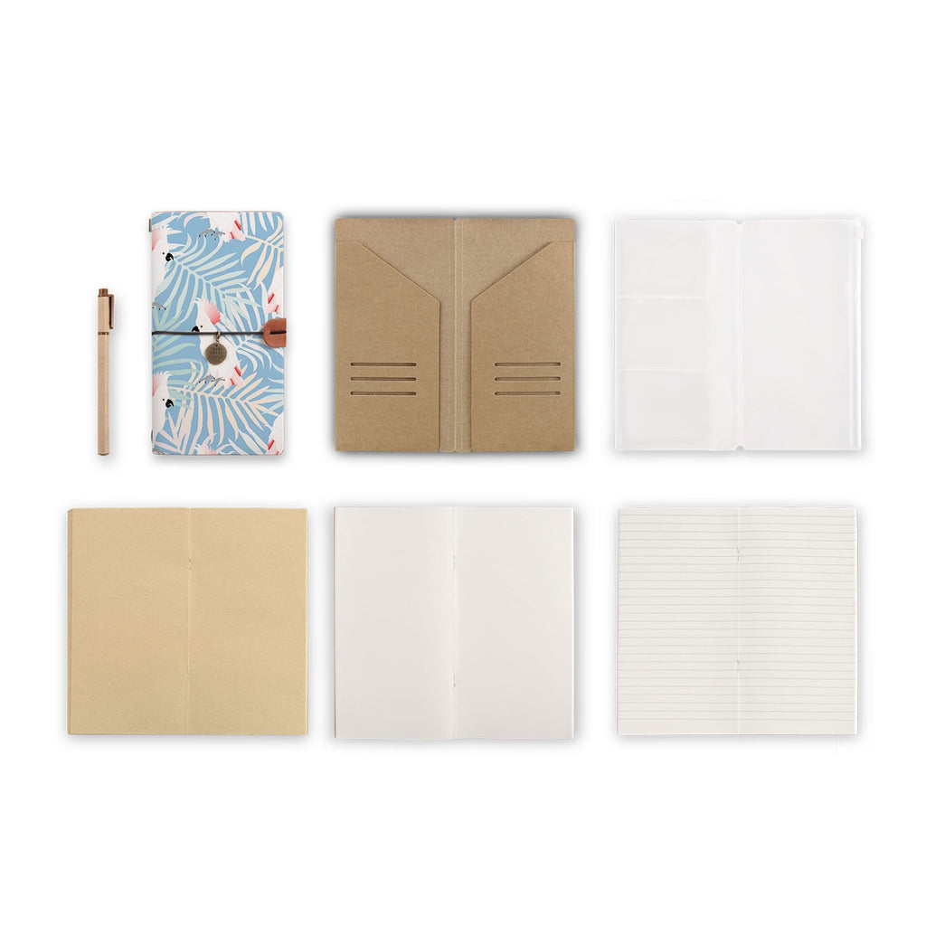 midori style traveler's notebook with Bird design, refills and accessories