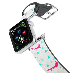 Printed Leather Apple Watch Band with Fox Pattern design. Designed for Apple Watch Series 4,Works with all previous versions of Apple Watch.
