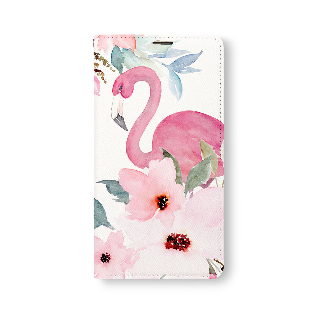 Front Side of Personalized Samsung Galaxy Wallet Case with Flamingos design
