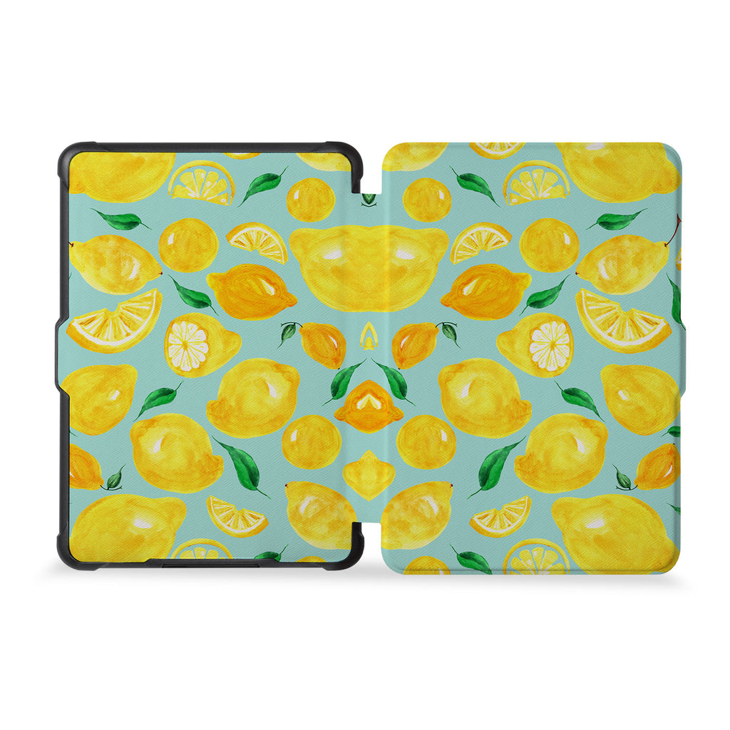 the whole front and back view of personalized kindle case paperwhite case with Fruit design