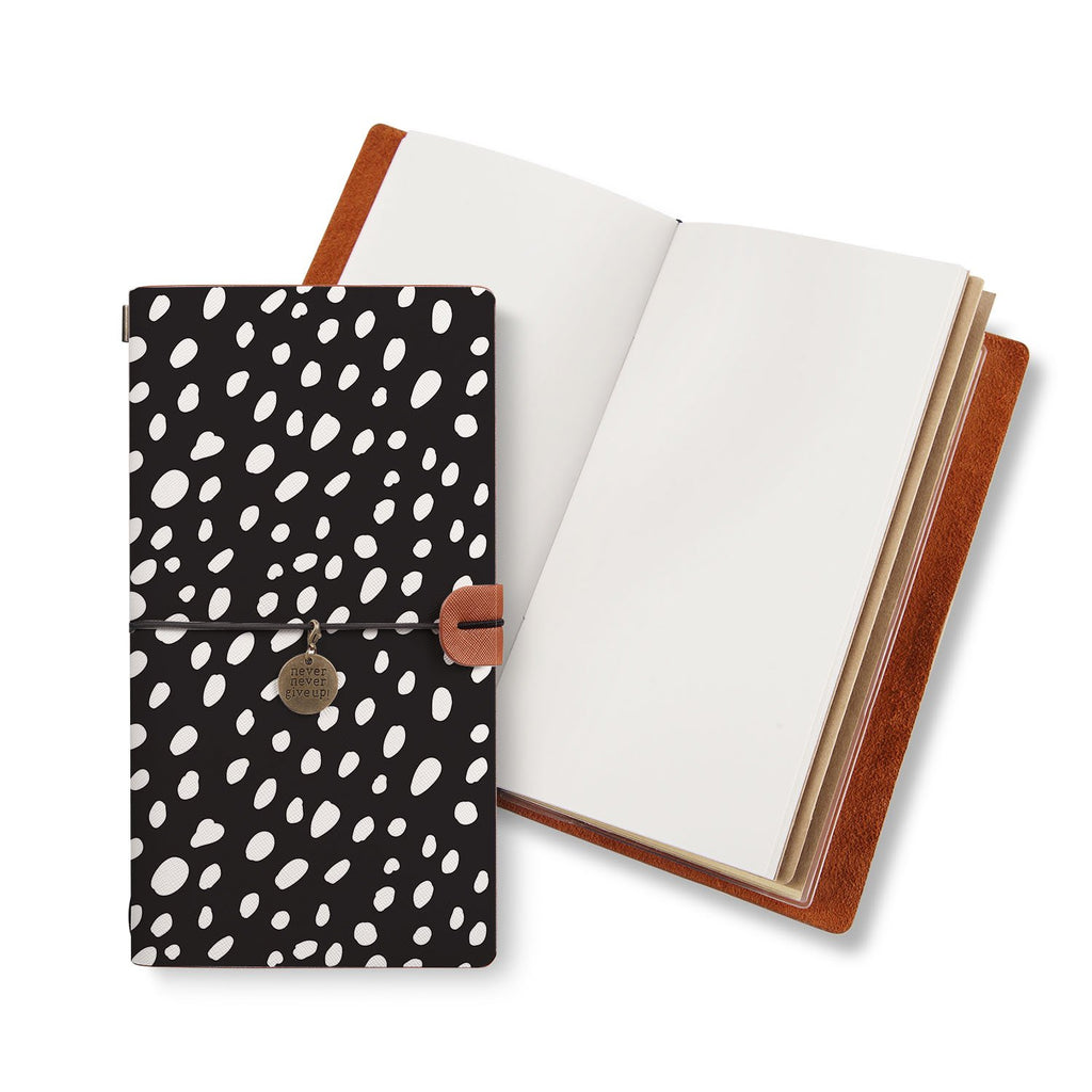 opened midori style traveler's notebook with Polka Dot design