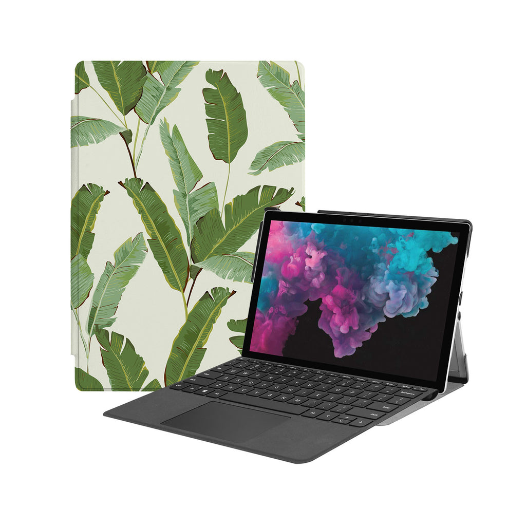 the Hero Image of Personalized Microsoft Surface Pro and Go Case with Green Leaves design