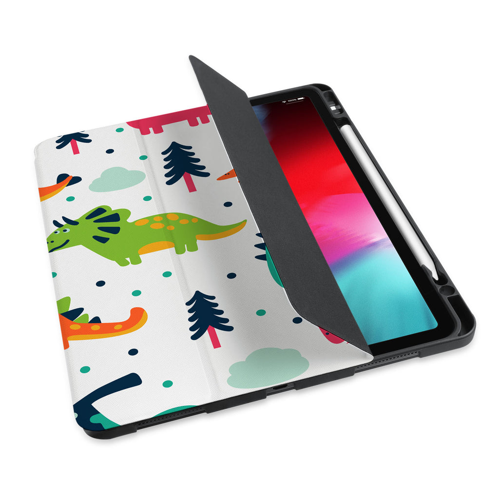 personalized iPad case with pencil holder and Dinosaur design - swap