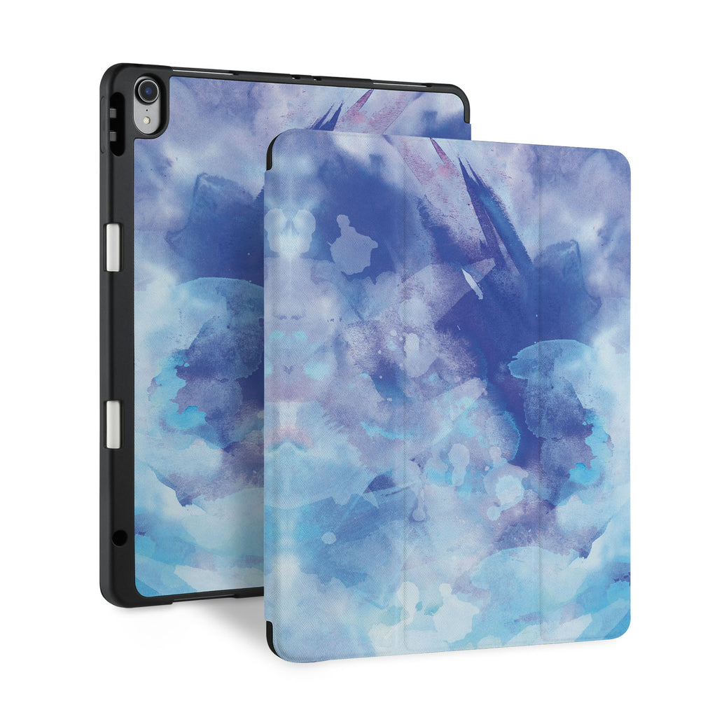 front and back view of personalized iPad case with pencil holder and Watercolor Abstract 1 design