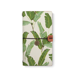 the front top view of midori style traveler's notebook with Green Leaves design