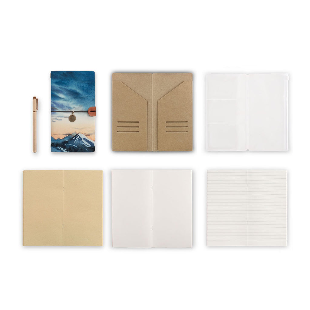midori style traveler's notebook with Landscape design, refills and accessories