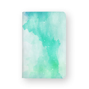 front view of personalized RFID blocking passport travel wallet with Abstract Watercolor Splash design