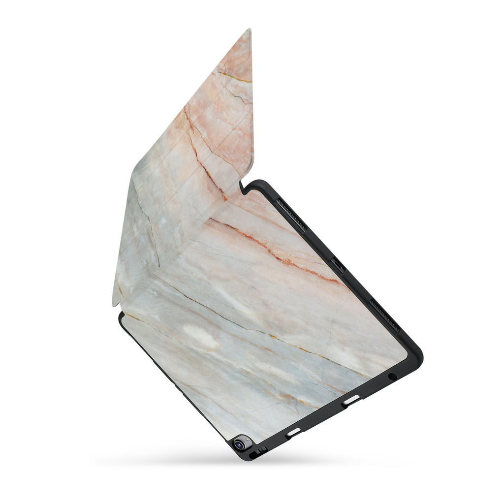 personalized iPad case with pencil holder and Marble design