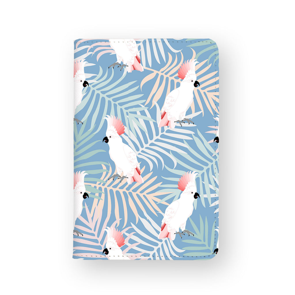 front view of personalized RFID blocking passport travel wallet with Bird design