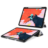 movie and keyboard stand view of personalized iPad case with pencil holder and ASORTED 01 design