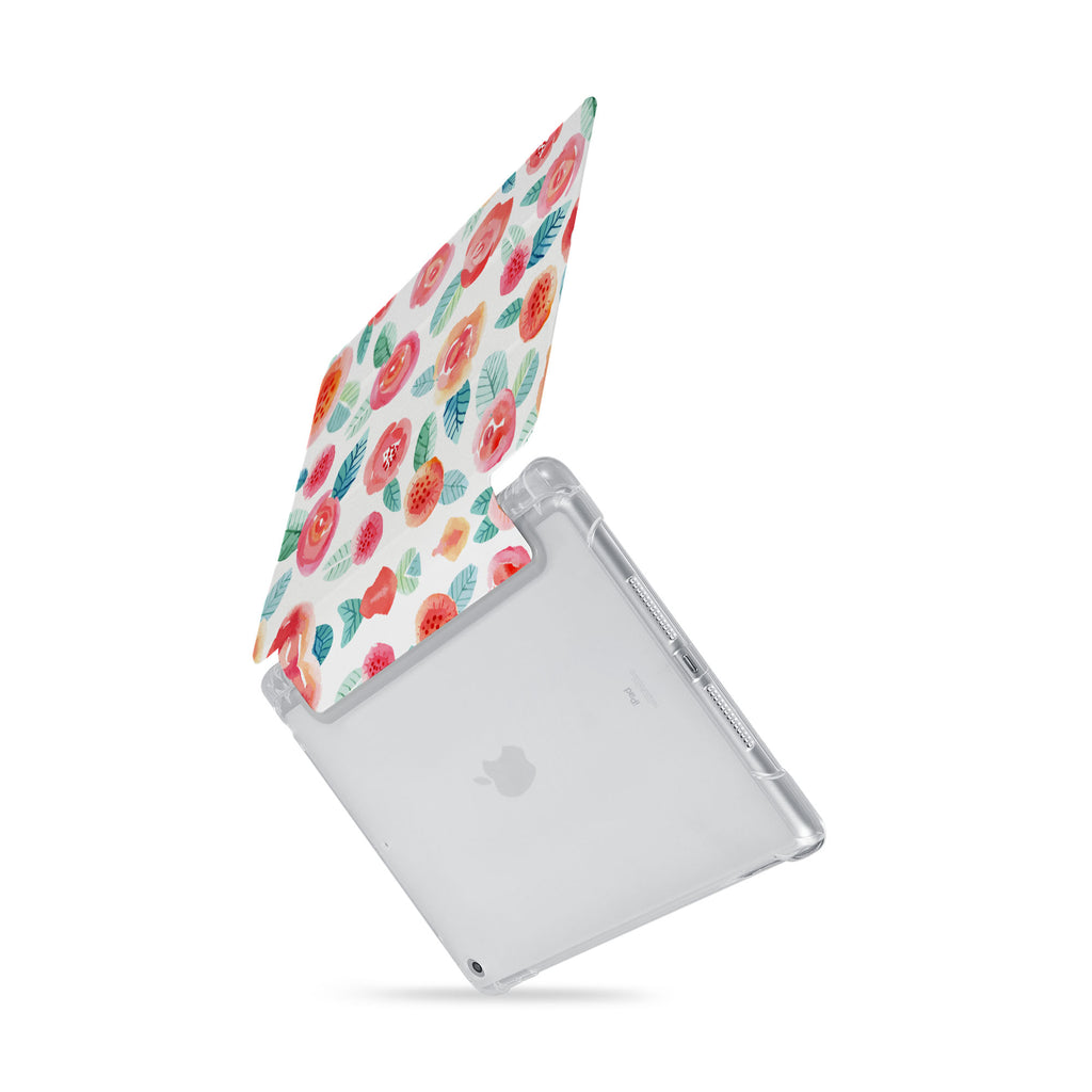 iPad SeeThru Casd with Rose Design  Drop-tested by 3rd party labs to ensure 4-feet drop protection