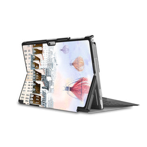 the back side of Personalized Microsoft Surface Pro and Go Case in Movie Stand View with Travel design - swap