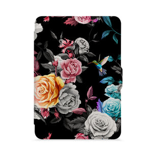 front view of personalized kindle paperwhite case with Black Flower design - swap