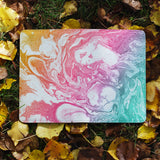 flat view of personalized RFID blocking passport travel wallet with Abstract Oil Painting design