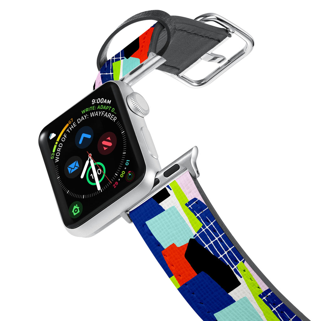 Printed Leather Apple Watch Band with 1980 Pattern design. Designed for Apple Watch Series 4,Works with all previous versions of Apple Watch.