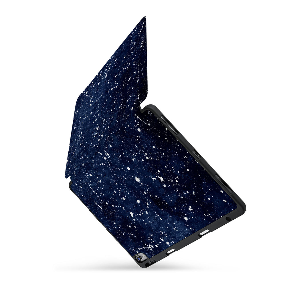 personalized iPad case with pencil holder and Galaxy design