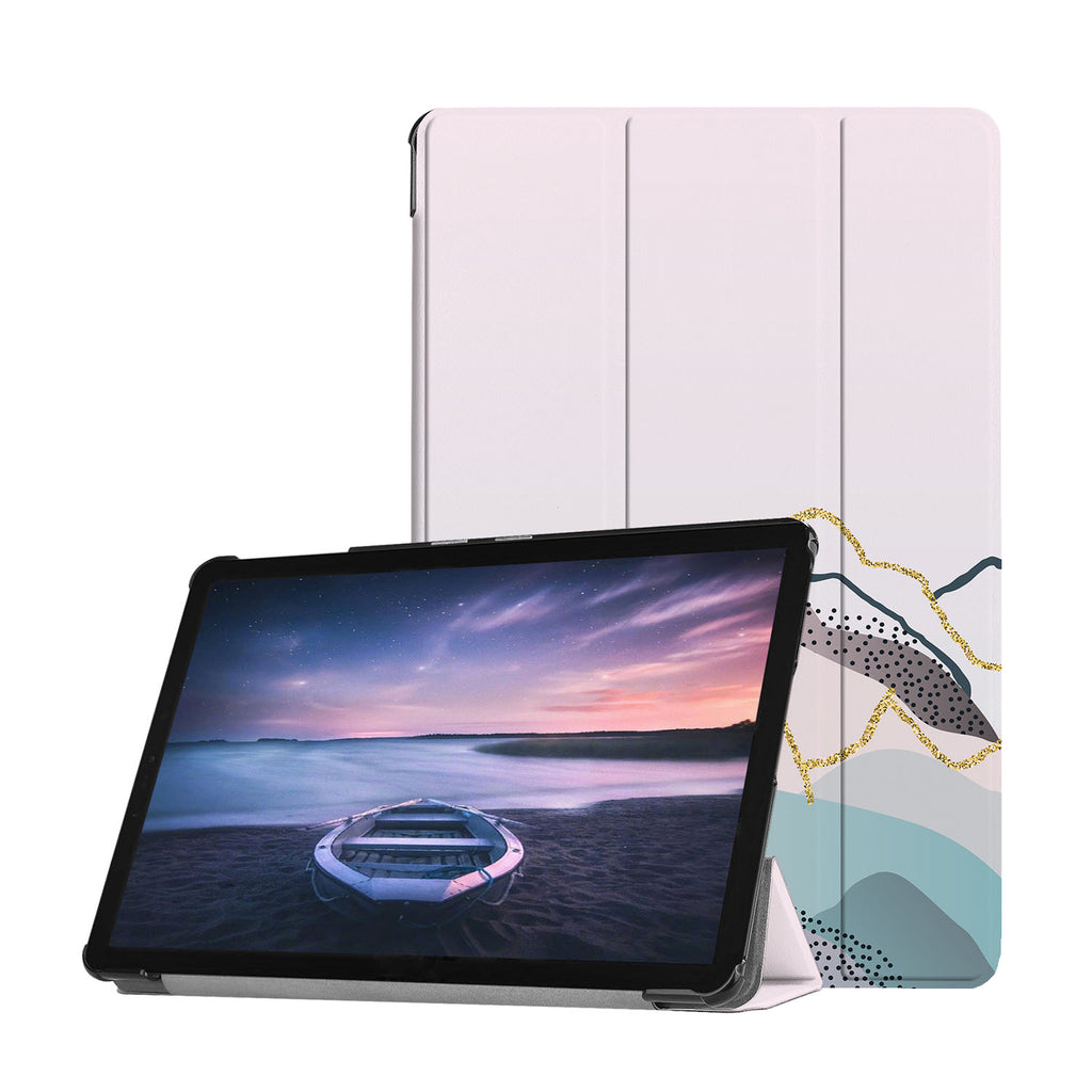 Personalized Samsung Galaxy Tab Case with Marble Art design provides screen protection during transit