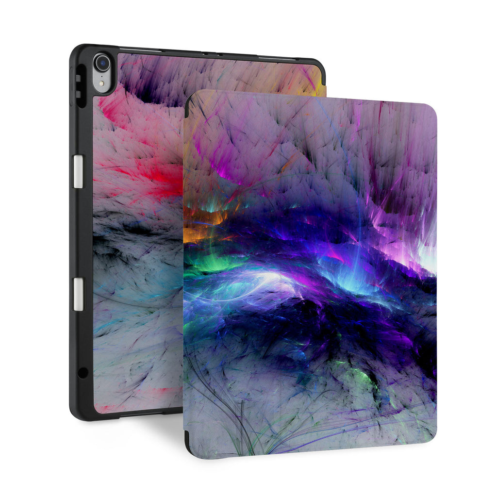 front and back view of personalized iPad case with pencil holder and Colorful Smoke design