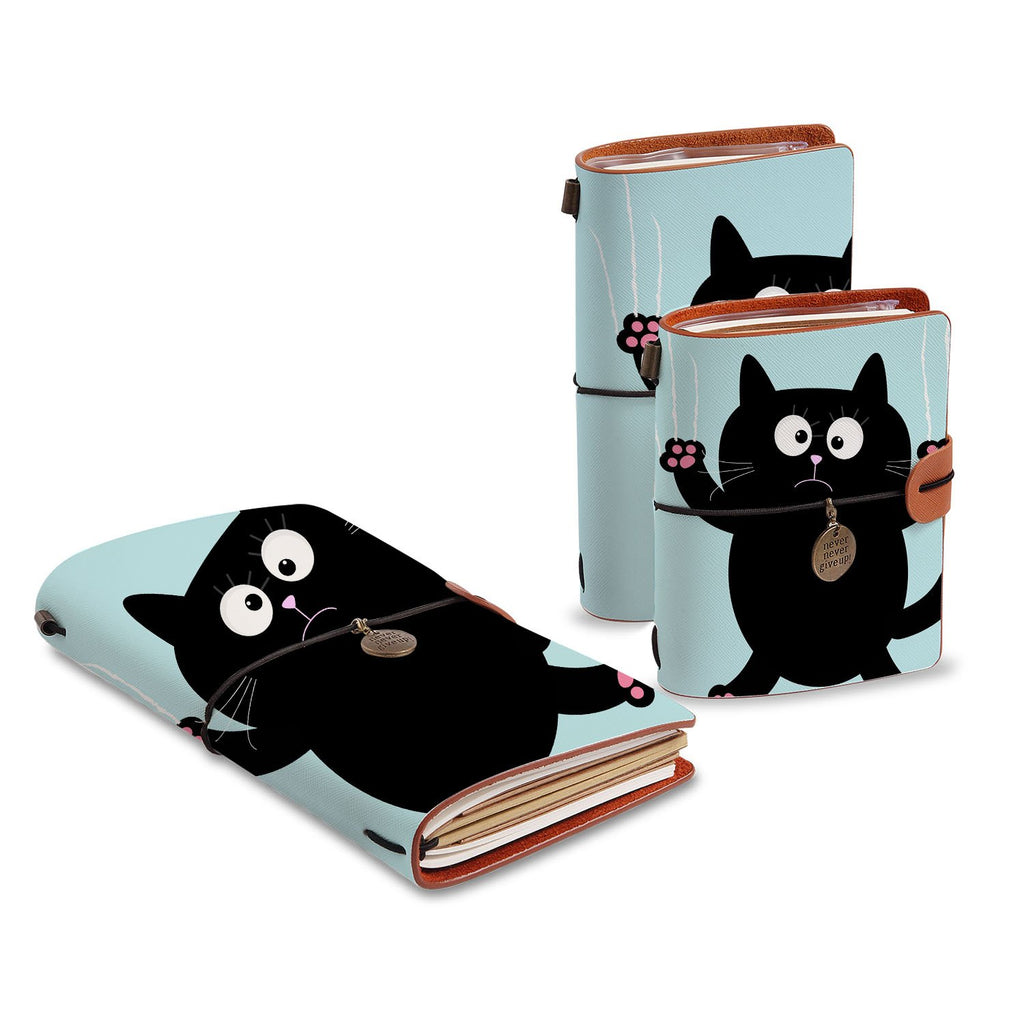 three size of midori style traveler's notebooks with Cat Kitty design