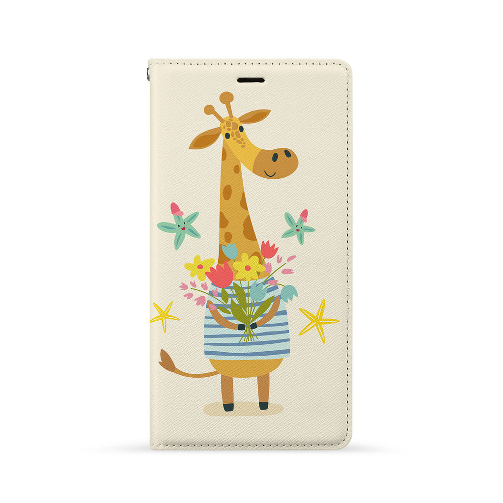 Front Side of Personalized iPhone Wallet Case with Cute Forest Friends design