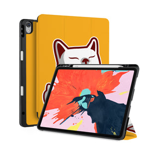 front back and stand view of personalized iPad case with pencil holder and Cat Fun design - swap
