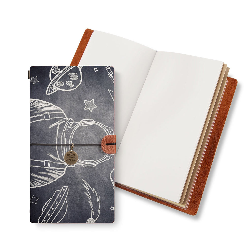 opened midori style traveler's notebook with Astronaut Space design