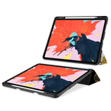 movie and keyboard stand view of personalized iPad case with pencil holder and Japanese design