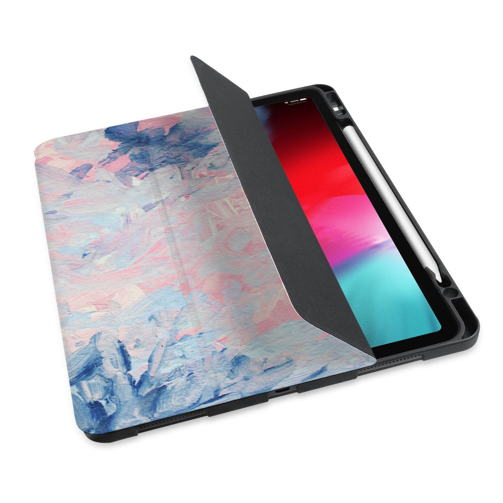 personalized iPad case with pencil holder and Oil Painting Abstract design - swap