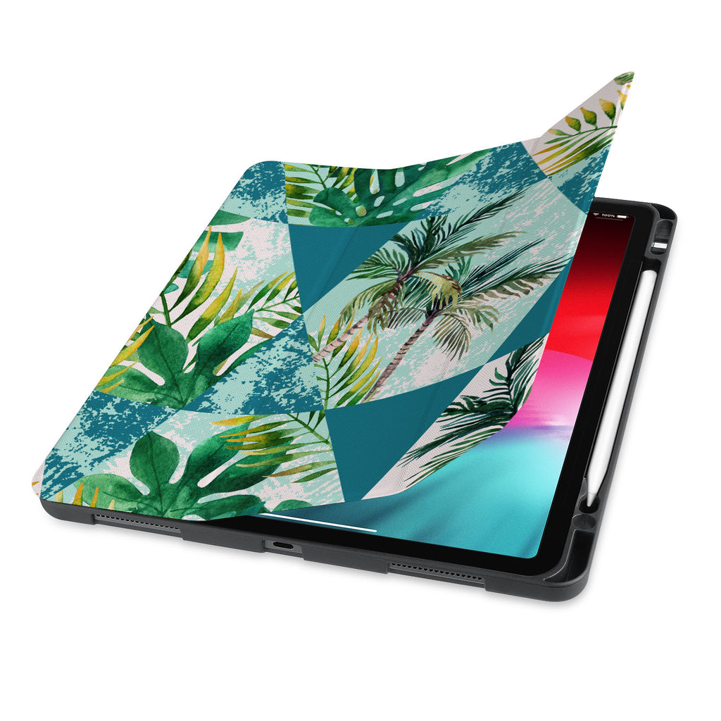 front view of personalized iPad case with pencil holder and Tropical Leaves design