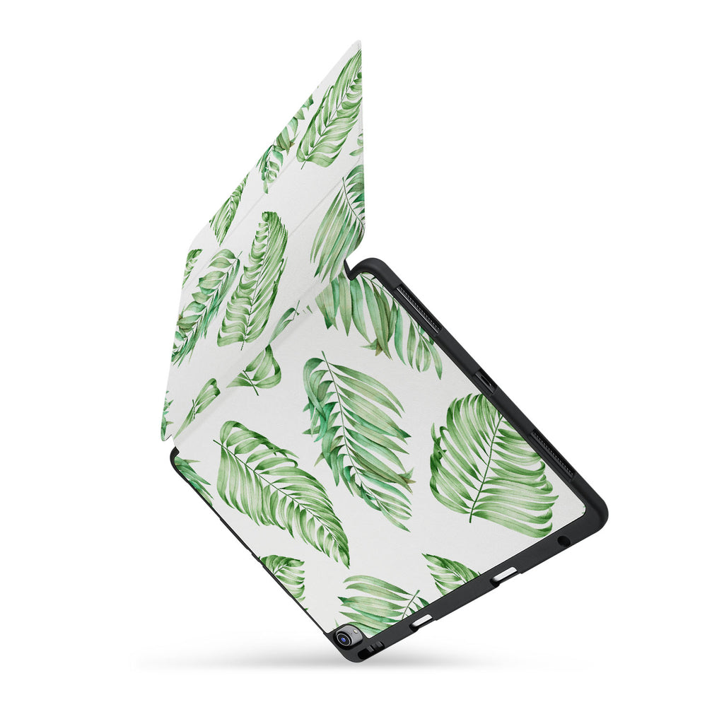 personalized iPad case with pencil holder and Leaves design