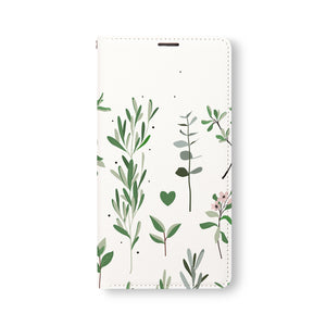 Front Side of Personalized Samsung Galaxy Wallet Case with FlatFlower2 design