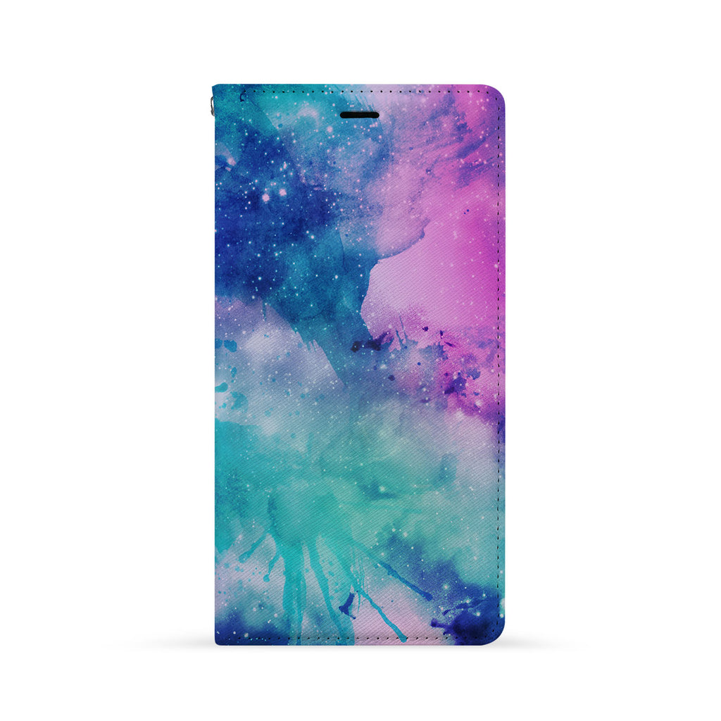 Front Side of Personalized iPhone Wallet Case with Galaxy design