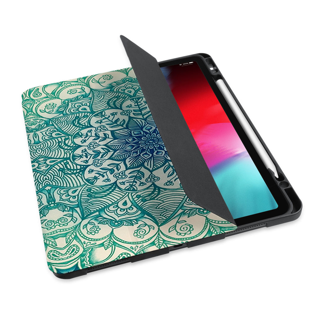 personalized iPad case with pencil holder and Flower2 design