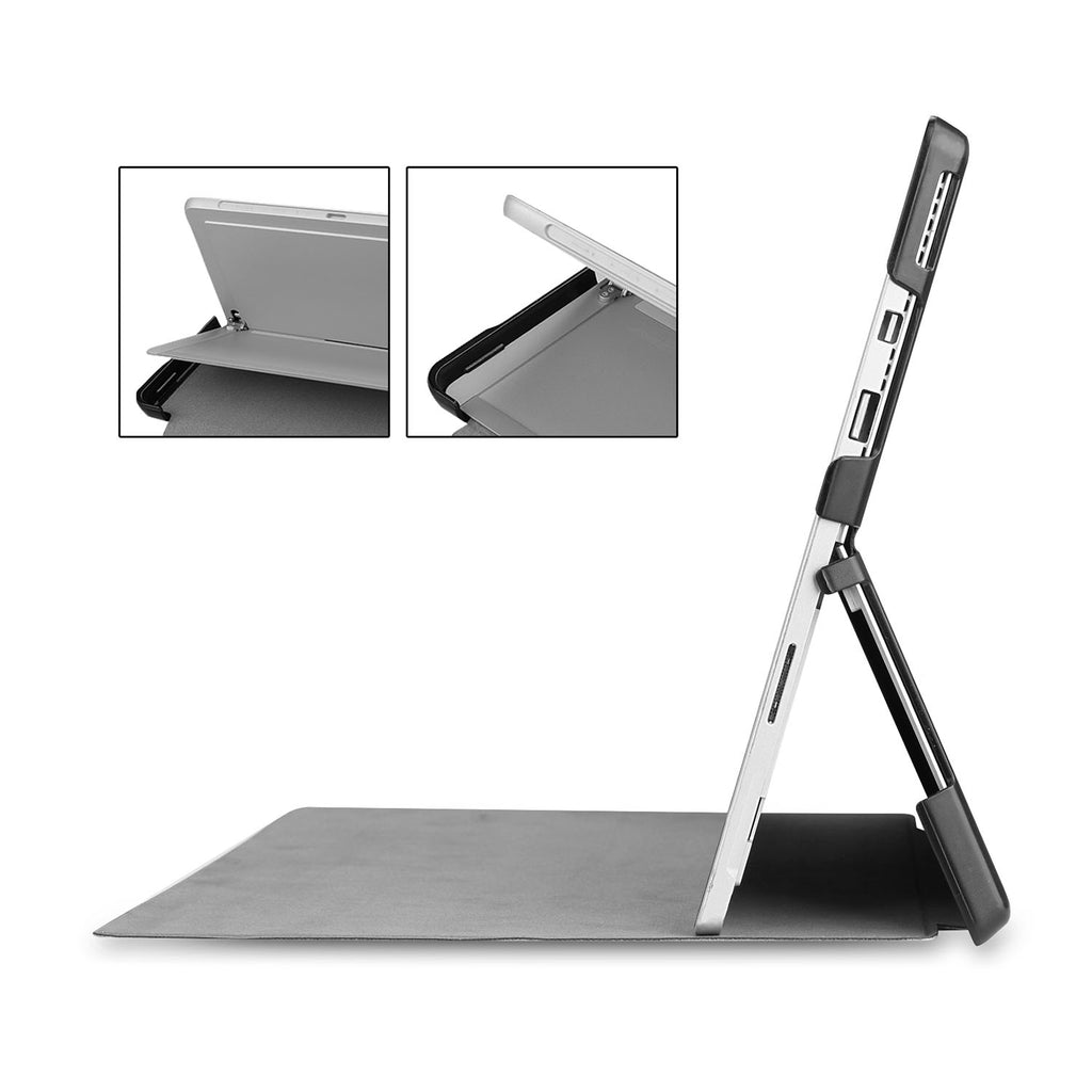 Full port acess of Personalized Microsoft Surface Pro and Go Case in Movice Stand View with Marble design
