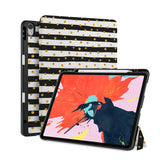 front back and stand view of personalized iPad case with pencil holder and Assorted 03 design