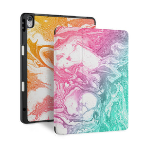 front back and stand view of personalized iPad case with pencil holder and Abstract Oil Painting design - swap