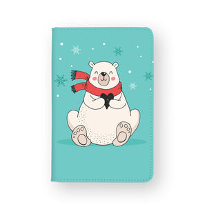 front view of personalized RFID blocking passport travel wallet with Polar Bears Christmas design