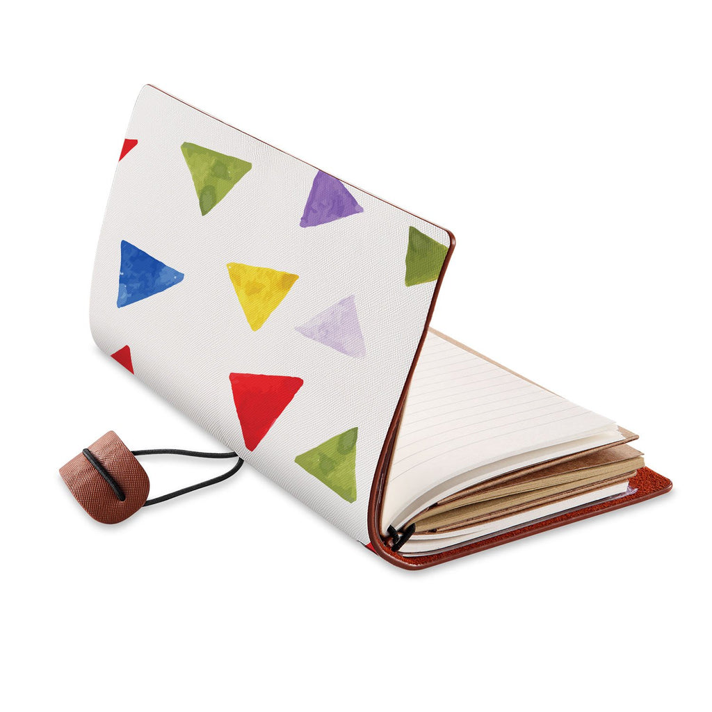 opened view of midori style traveler's notebook with Geometry Pattern design