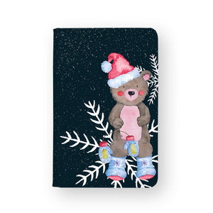 front view of personalized RFID blocking passport travel wallet with Cute Christmas design