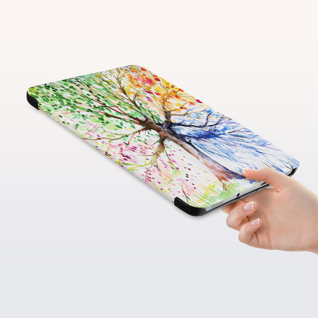 a hand is holding the Personalized Samsung Galaxy Tab Case with Watercolor Flower design