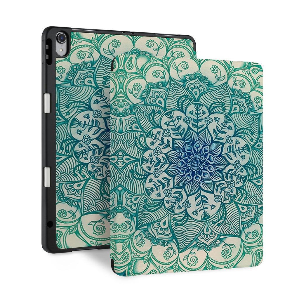 front and back view of personalized iPad case with pencil holder and Flower2 design