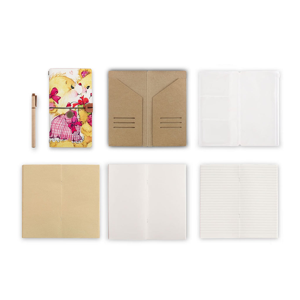 midori style traveler's notebook with Bear design, refills and accessories