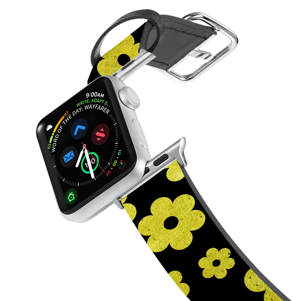 Printed Leather Apple Watch Band with Black Gold Pattern design. Designed for Apple Watch Series 4,Works with all previous versions of Apple Watch.