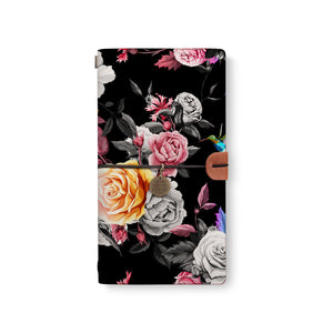 the front top view of midori style traveler's notebook with Black Flower design