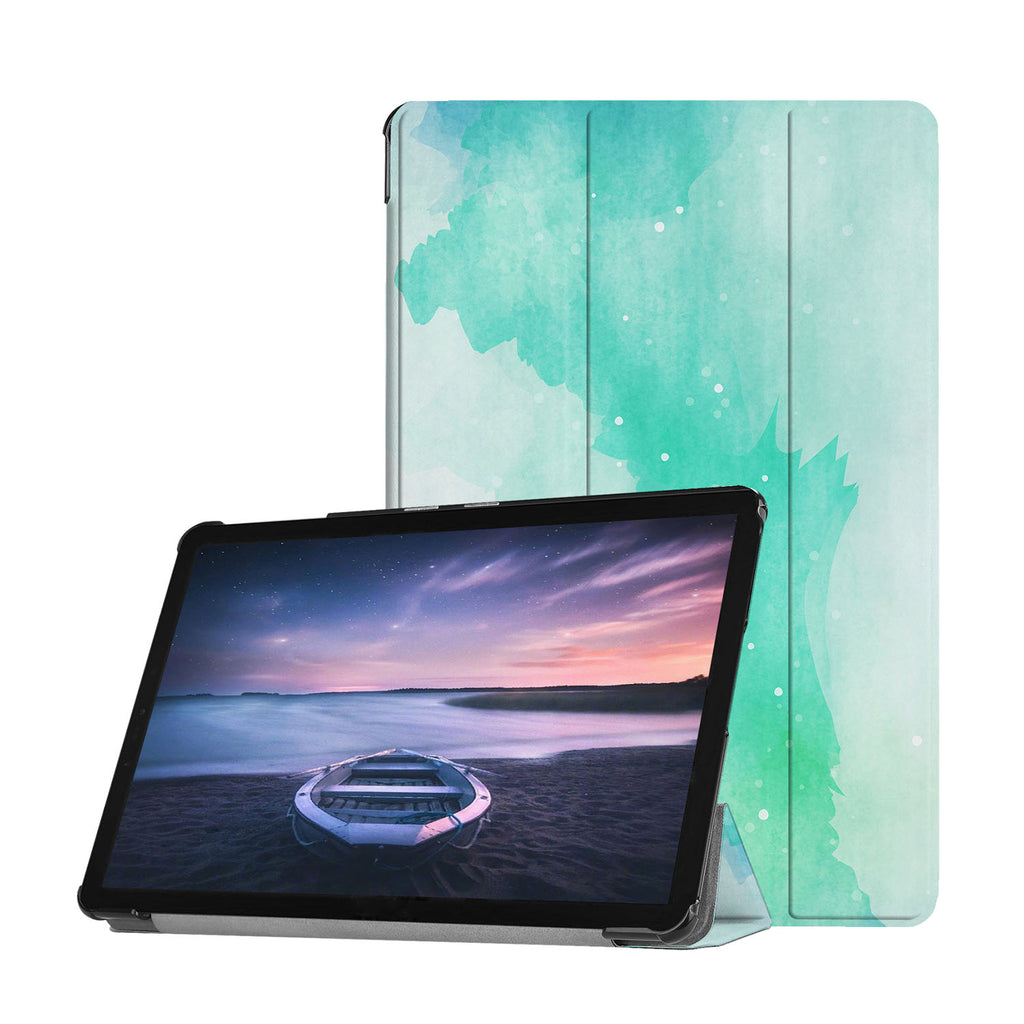 Personalized Samsung Galaxy Tab Case with Abstract Watercolor Splash design provides screen protection during transit