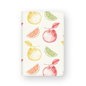 front view of personalized RFID blocking passport travel wallet with Fruits design